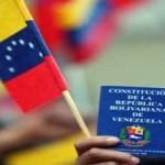 Bandera y Constitución de la República Bolivariana de Venezuela.