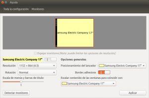 Monitores en Ubuntu ejemplo con Samsung 17 pulgadas.