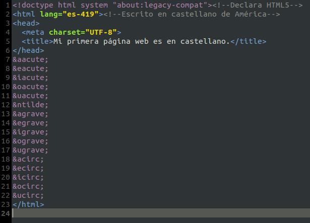 Mi primera página web es en castellano