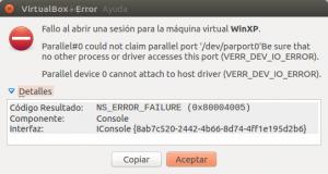 Error puerto paralelo ocupado.