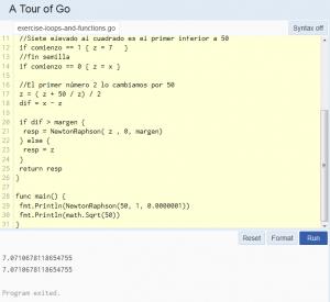 GoLang cálculo raíz cuadrada de 50 por método Newton Raphson.
