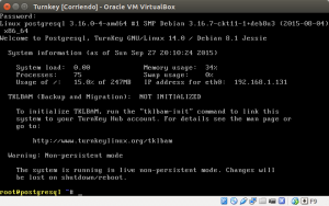 Turnkey corriendo en VirtualBox.