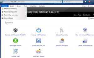Webmin opción principal