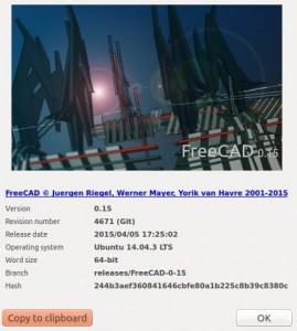 FreeCAD versión 0.15