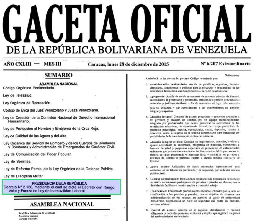 Decreto N° 2.158, mediante el cual se dicta el Decreto con Rango, Valor y Fuerza de Ley de Inamovilidad Laboral.