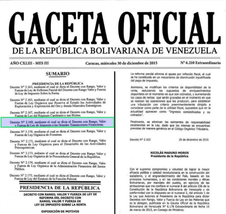 Gaceta Oficial Extraordinario 6210 sumario Impuesto Grandes Transacciones Financieras.