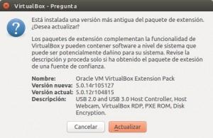 Advertencia antes de instalar paquete de extensión 5.0.14 para VirtualBox