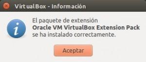 Instalado paquete de extensión 5.0.14 para VirtualBox