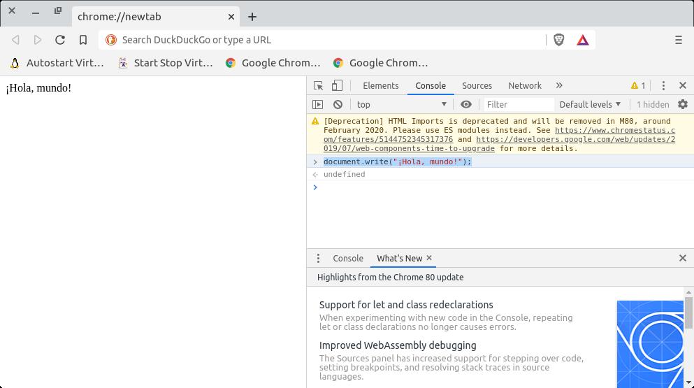 «¡Hola, mundo!» escrito en JavaScript sobre Brave Web Browser 1