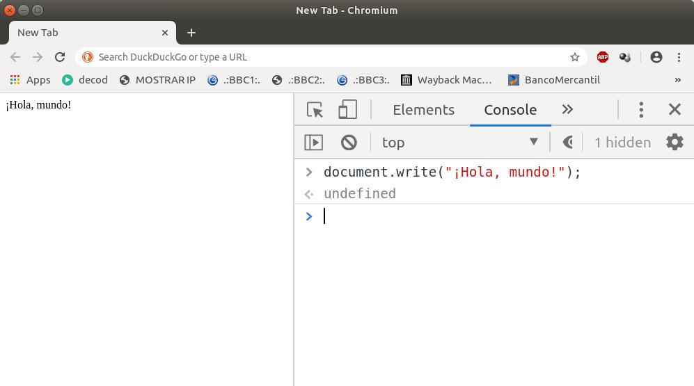 «¡Hola, mundo!» escrito en JavaScript sobre Google Chromium 79