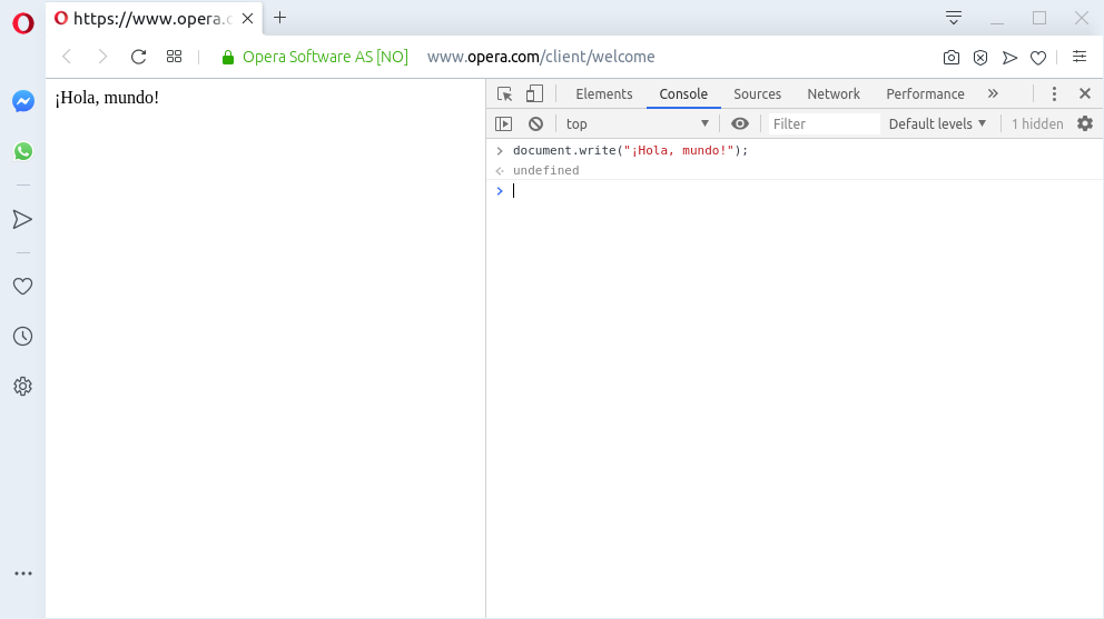 «¡Hola, mundo!» escrito en JavaScript sobre Opera Web Browser 66