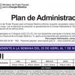 Plan de racionamiento eléctrico nacional del lunes 25 de abril al domingo 1° de mayo de 2016