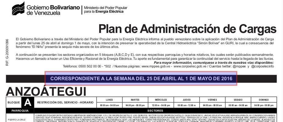 Ministerio del poder popular para la energ a el ctrica for Racionamiento de luz en aragua
