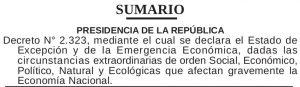 Sumario Gaceta Oficial Extraordinario N° 6.227