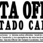 Gaceta Oficial del Estado Carabobo (encabezado)