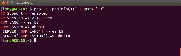 "php -r 'phpinfo();' | grep ""GD"""