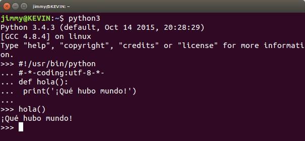 ¡Qué hubo mundo! en Python interactivo