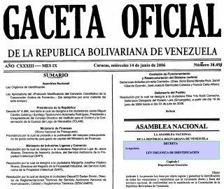 GacetaOficial N° 38.458 (sumario)