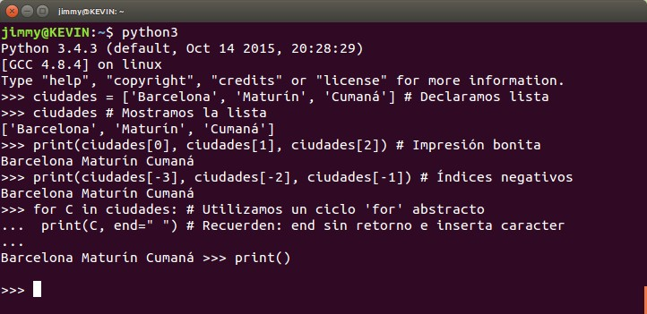 python listas en modo interactivo visualización con ciclo for~in: y print()