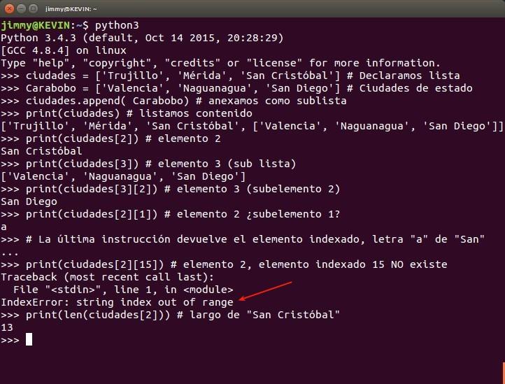 python listas sublistas y elementos indexados