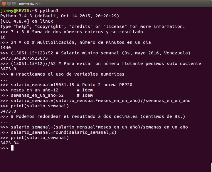 python operaciones numéricas (incluyen uso de variables) en modo interactivo