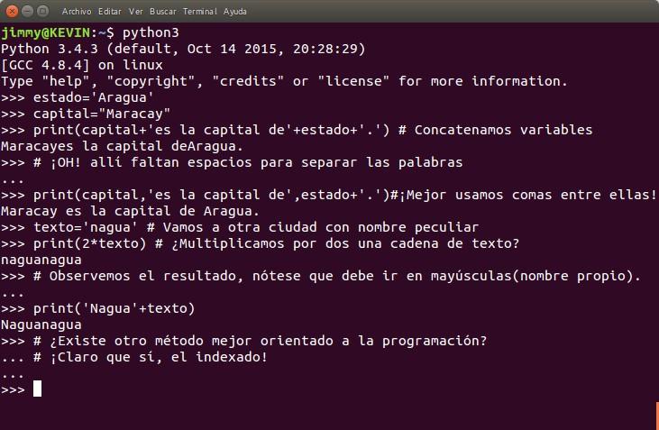 python print() uso de coma como separador