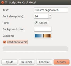 GIMP Archivo - Crear - Logotipos - Cool Metal (Script-Fu)