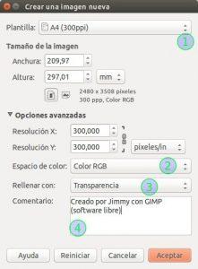 GIMP Crear una imagen nueva