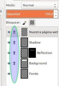 GIMP encadenar las 4 capas de cool metal