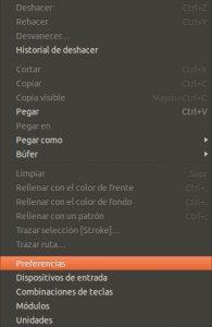 GIMP menú Editar - Preferencias