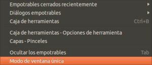 GIMP modo de ventana unica.