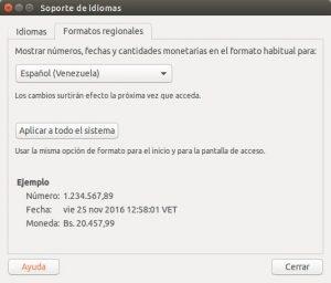 Formato regional en Ubuntu 16.04