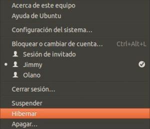 Ubuntu botón para hibernar.