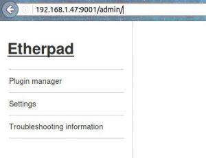 Accediendo como administrador a Etherpad