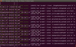 Bitácora de registros de eventos en el lado del servidor Etherpad
