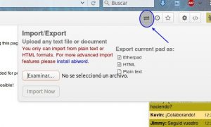 Importando ficheros a un documento Etherpad
