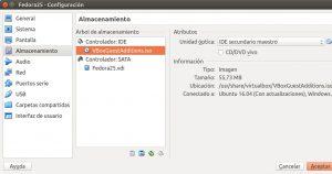 Crear máquina virtual Fedora 25 VBoxGuestAdditions 1