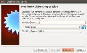 Crear máquina virtual Fedora 25 VirtualBox paso 01