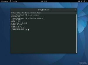 Guión para detectar los componentes instalados de Python3 cinco