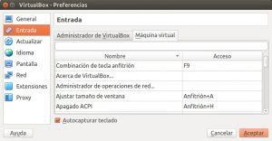 VirtualBox - Preferencias - Entrada - Tecla Anfitrión