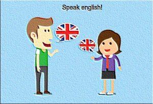 Women and man speaking english.