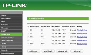TP-LINK Forwarding Virtual Servers