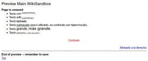 Formato de texto en WikiSandBox - PmWiki