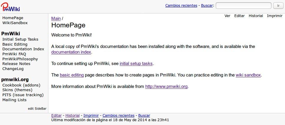 PmWiki página principal por defecto -idioma español establecido-