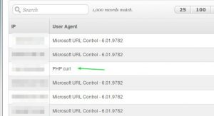 Usando PHP curl CURLOPT_USERAGENT