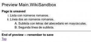 WikiSandbox listas con numeracion romana y alfabetica
