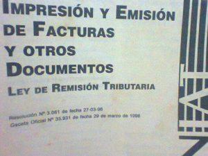 Impresión y emisión de factura y otros documentos LEY DE REMISIÓN TRIBUTARIA 1994