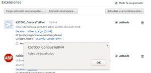 KS7000-ConoceTuIPv4 mensaje de JavaScript