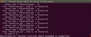 python factorial.py con n = 1200 (mil doscientos)