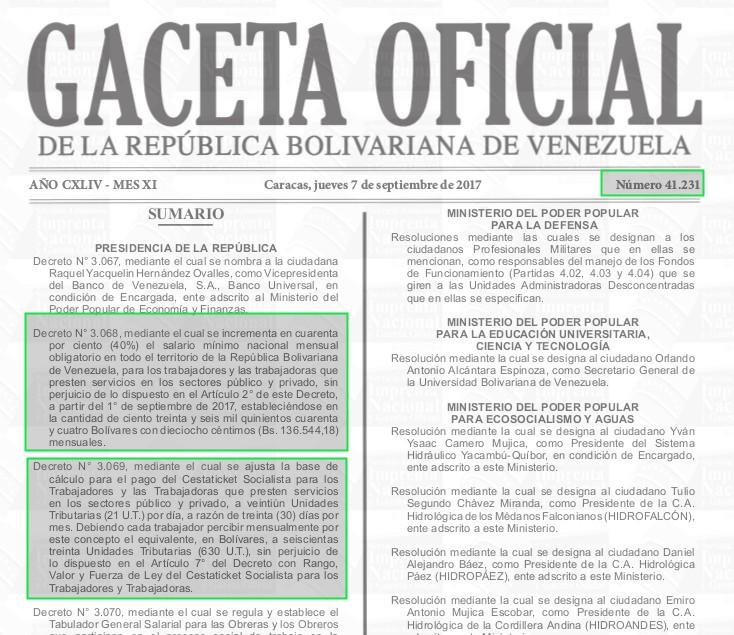 Gaceta Oficial 41231 sumario